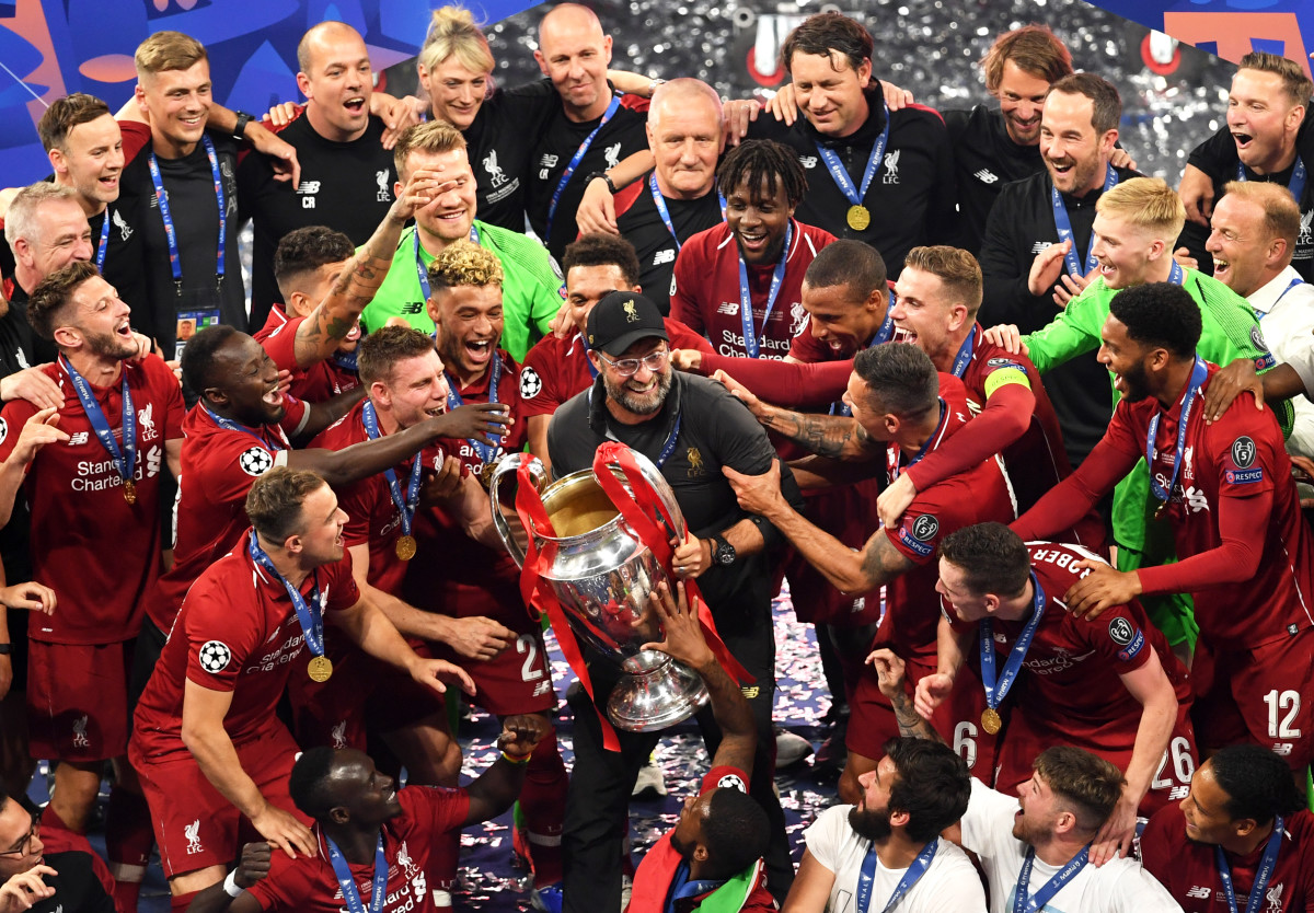 Liverpool celebrate winning the Champions League back in 2019.