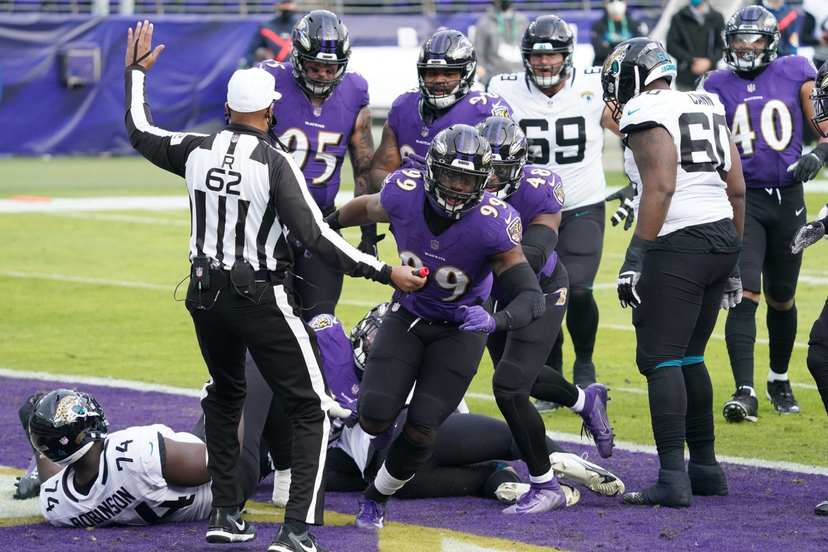 Judon reacts after sacking Jacksonville Jaguars quarterback Gardner Minshew II.