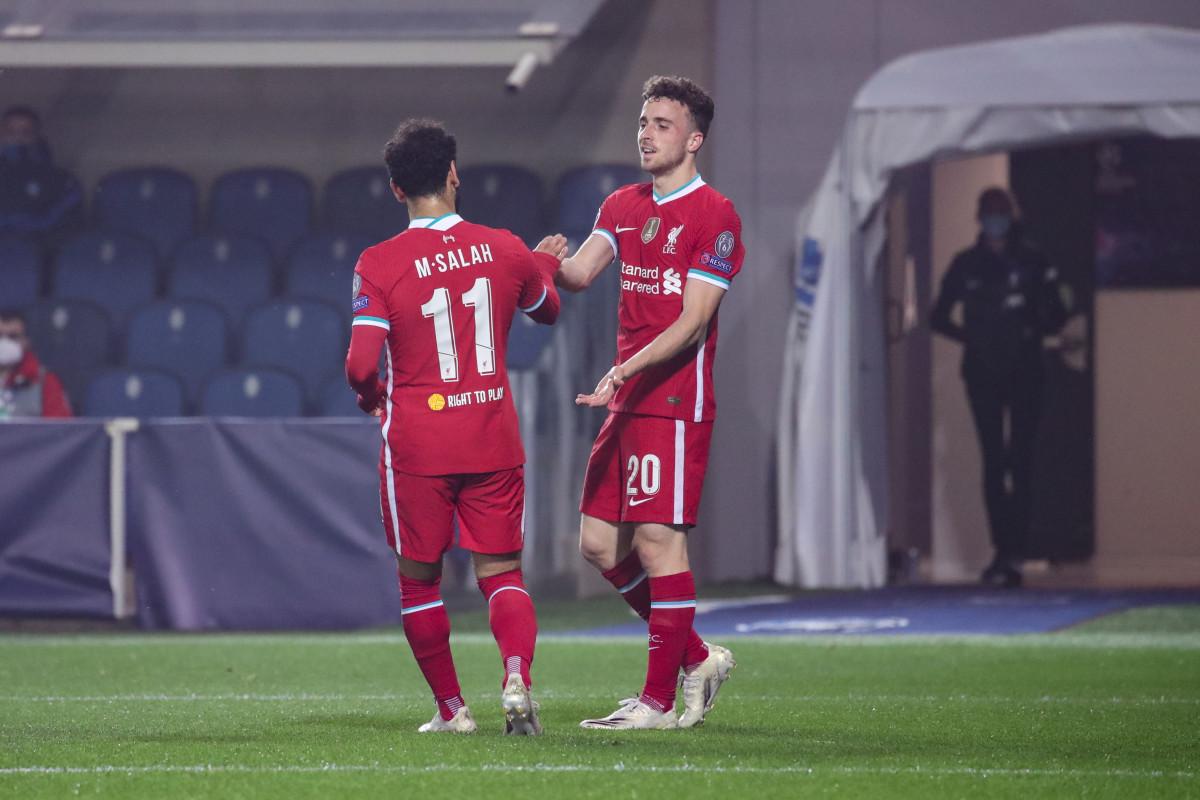 Diogo Jota celebrates his goal against Atalanta