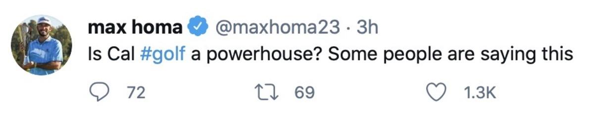 Max Homa tweet