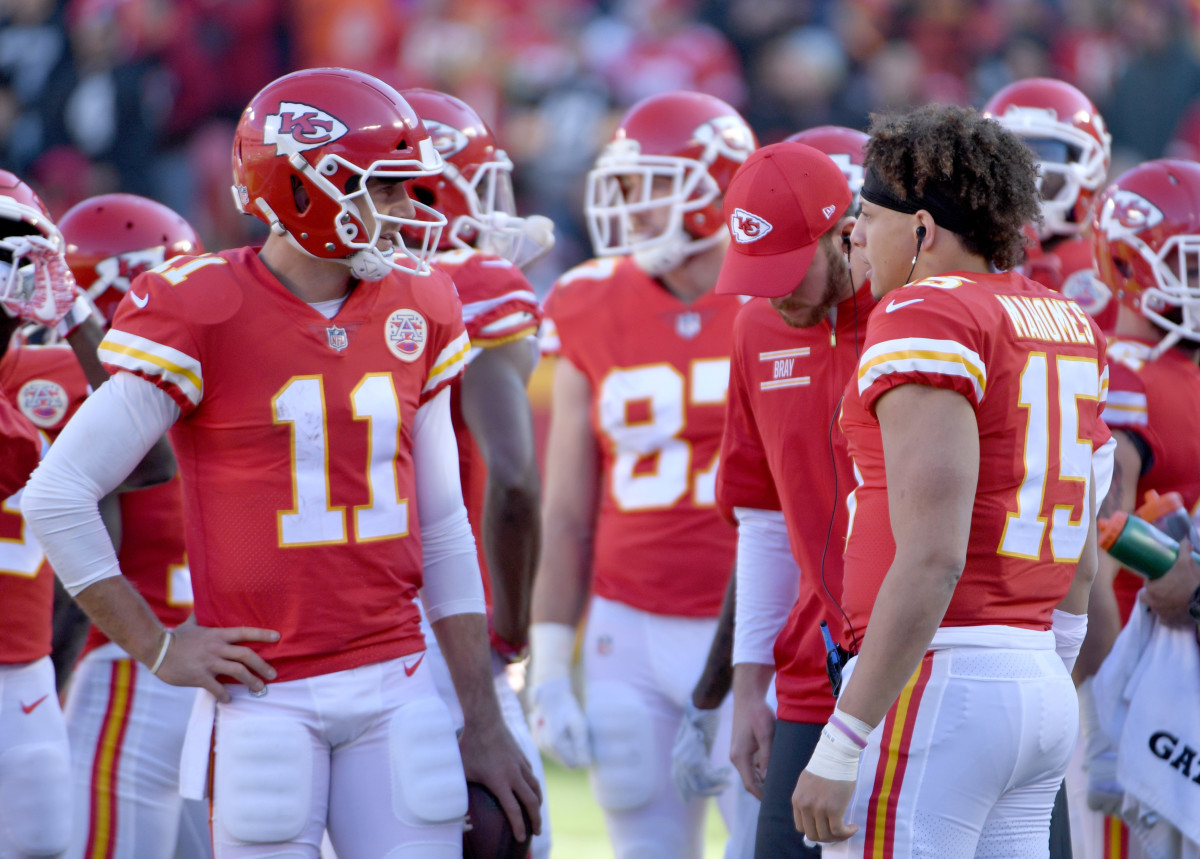 Patrick Mahomes (15) credits Smith (11) with much of his early success.Mandatory Credit: Denny Medley-USA TODAY Sports