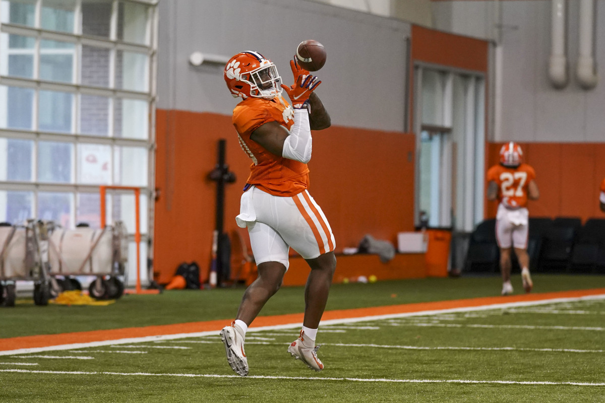 Freshman Running Back Phil Mafah in Monday's Spring Practice. Photo courtesy of the Clemson Athletic Department