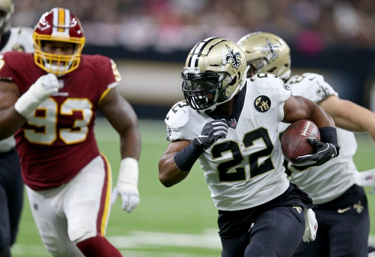 Oct 8, 2018; New Orleans, LA, USA; Saints running back Mark Ingram (22) runs against the Washington Redskins. Mandatory Credit: Chuck Cook-USA TODAY Sports