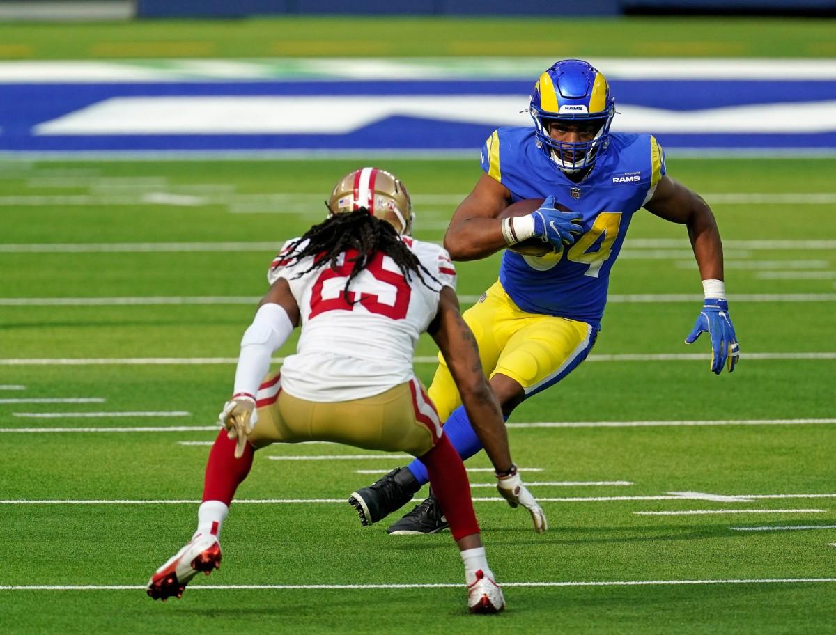 Nov 29, 2020; Inglewood, California, USA; Rams running back Malcolm Brown (34). Mandatory Credit: Kirby Lee-USA TODAY