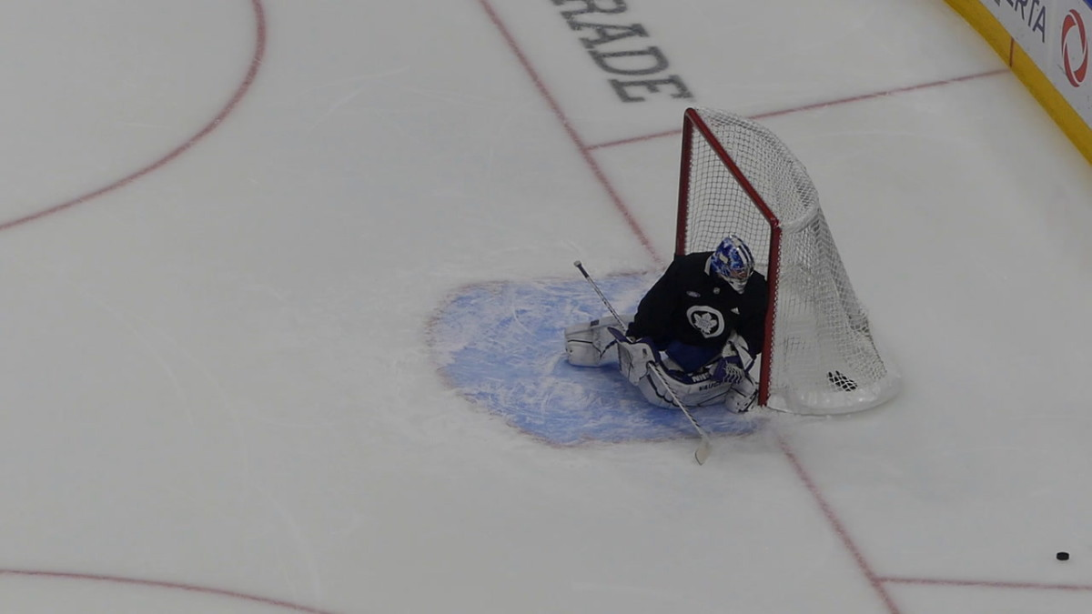 Campbell taking shots during the morning skate