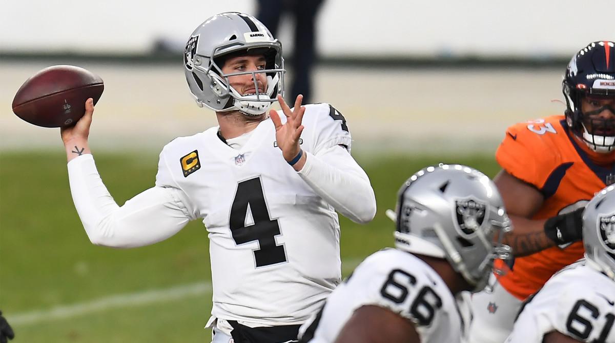 Jan 3, 2021; Denver, Colorado, USA; Las Vegas Raiders quarterback Derek Carr (4) throws a pass against the Denver Broncos during the second quarter at Empower Field at Mile High.