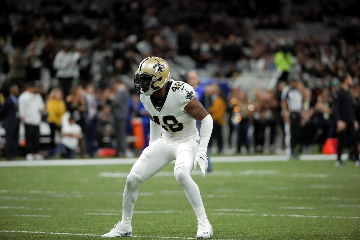 Jan 5, 2020; New Orleans, Louisiana, USA; Saints defensive back J.T. Gray (48) before kickoff of a NFC Wild Card playoff football game against the Minnesota Vikings at the Mercedes-Benz Superdome. Mandatory Credit: Derick Hingle-USA TODAY