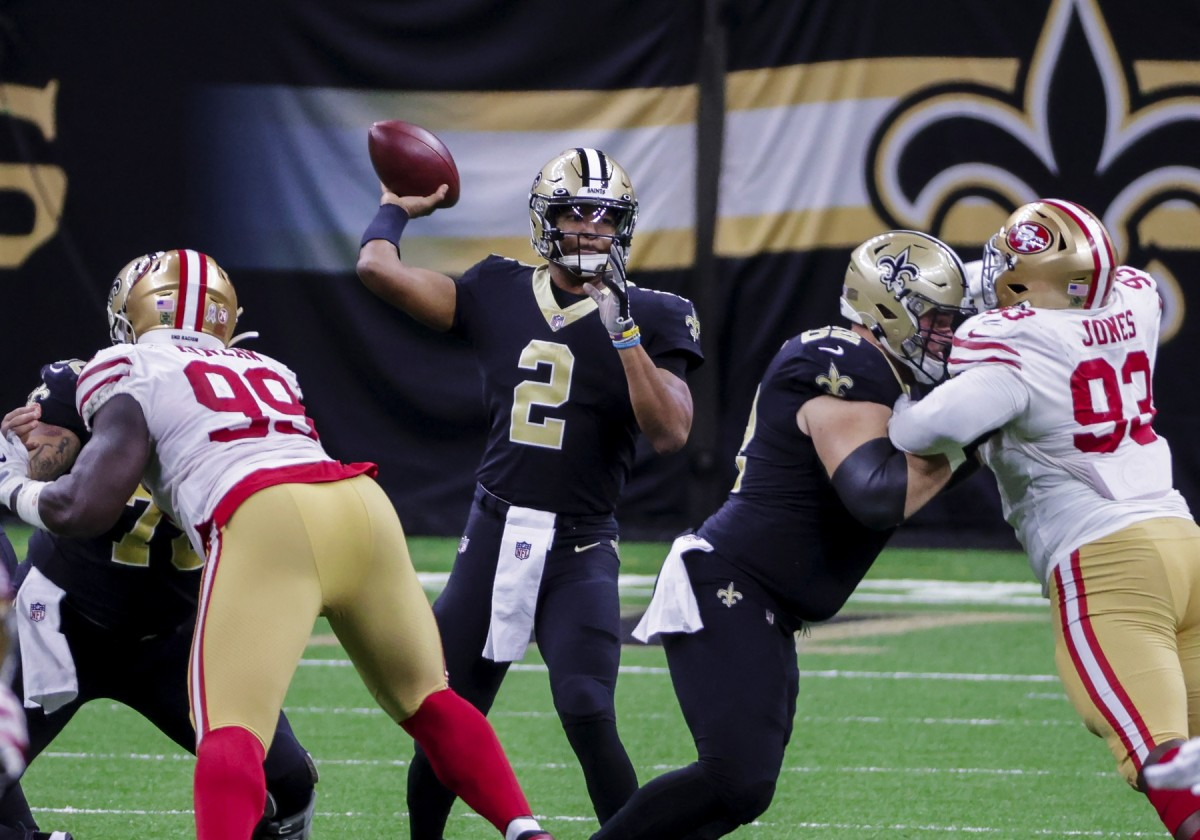 Nov 15, 2020; New Orleans, Louisiana, USA; Saints quarterback Jameis Winston (2) throws against the 49ers during the second half at the Mercedes-Benz Superdome. Mandatory Credit: Derick E. Hingle-USA TODAY