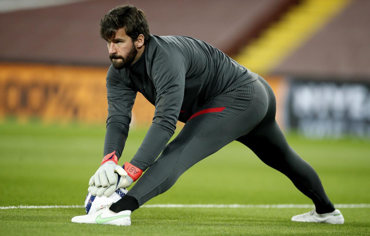 Alisson Becker readying for Liverpool v Chelsea