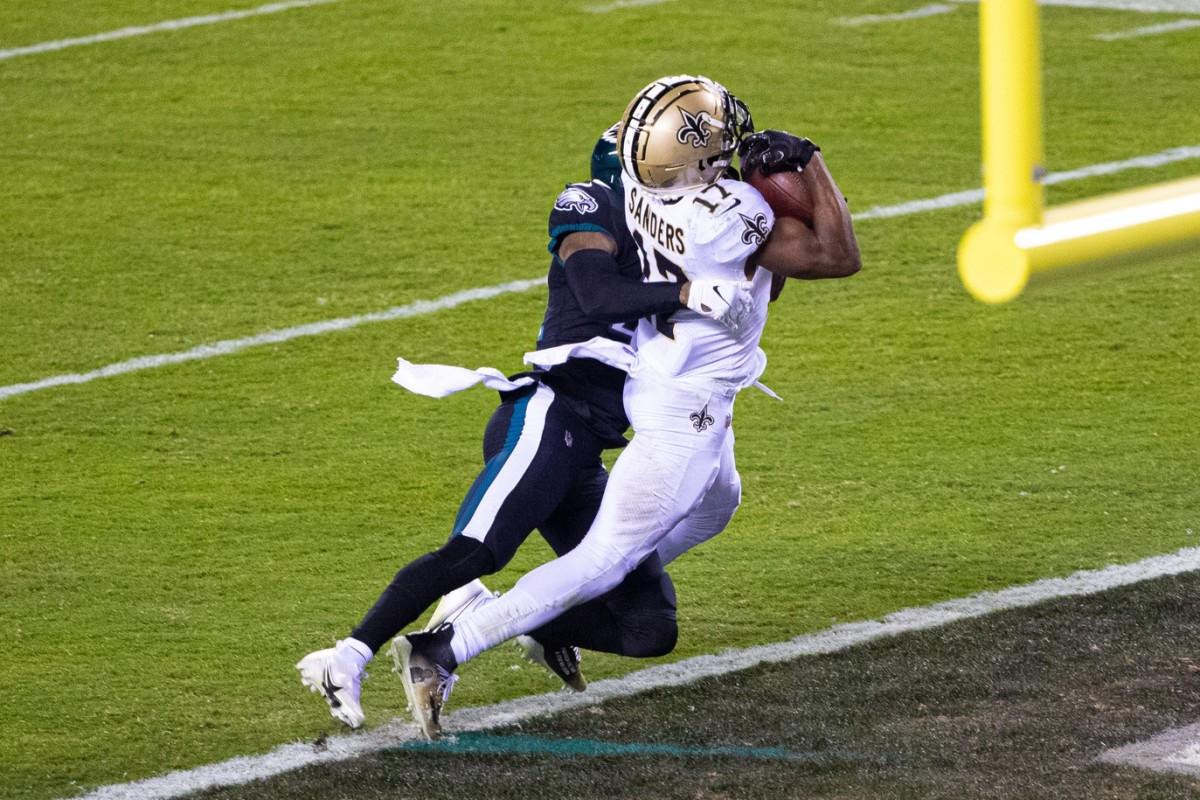 Dec 13, 2020; Philadelphia, Pennsylvania, USA; Saints wide receiver Emmanuel Sanders (17) makes a touchdown catch against the Philadelphia Eagles. Mandatory Credit: Bill Streicher-USA TODAY