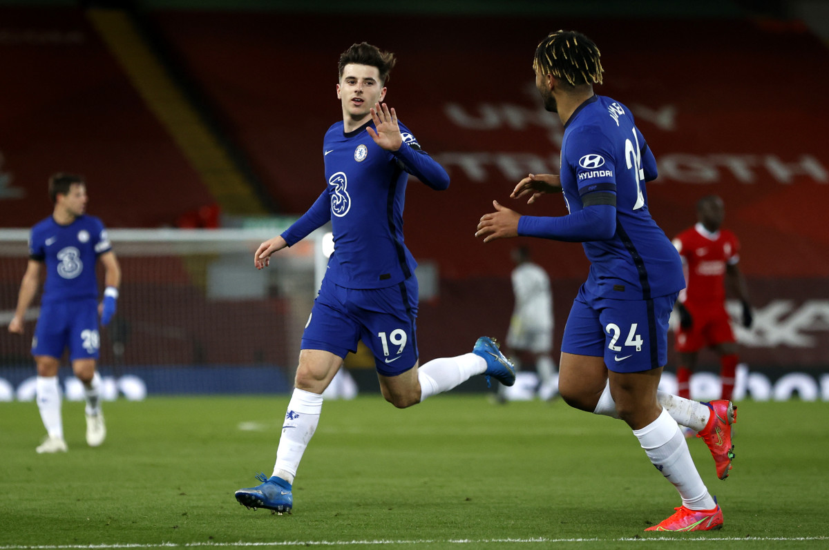 Mason Mount celebrates against Liverpool