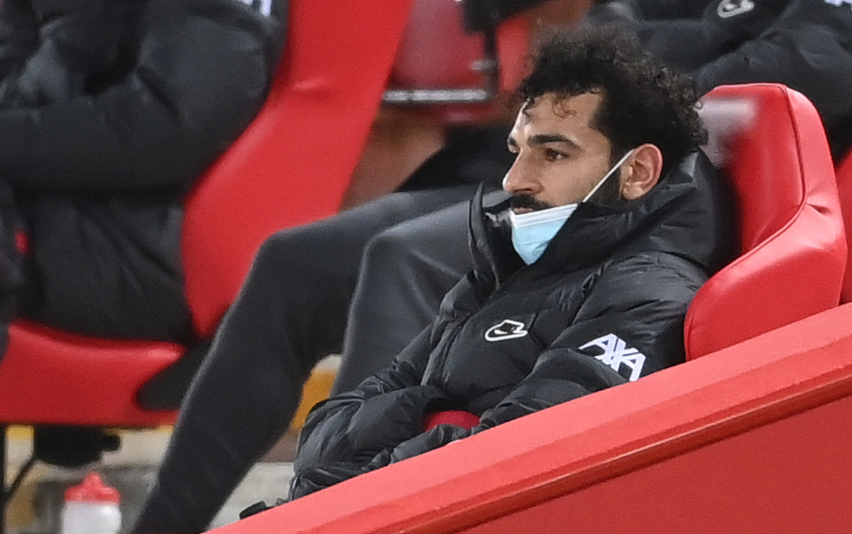 An angry Mohamed Salah after being substituted