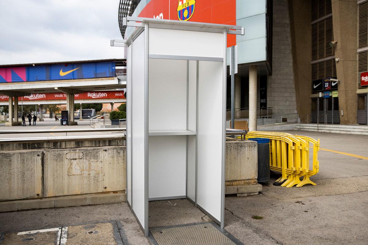A polling station outside Camp Nou for Barcelona's election