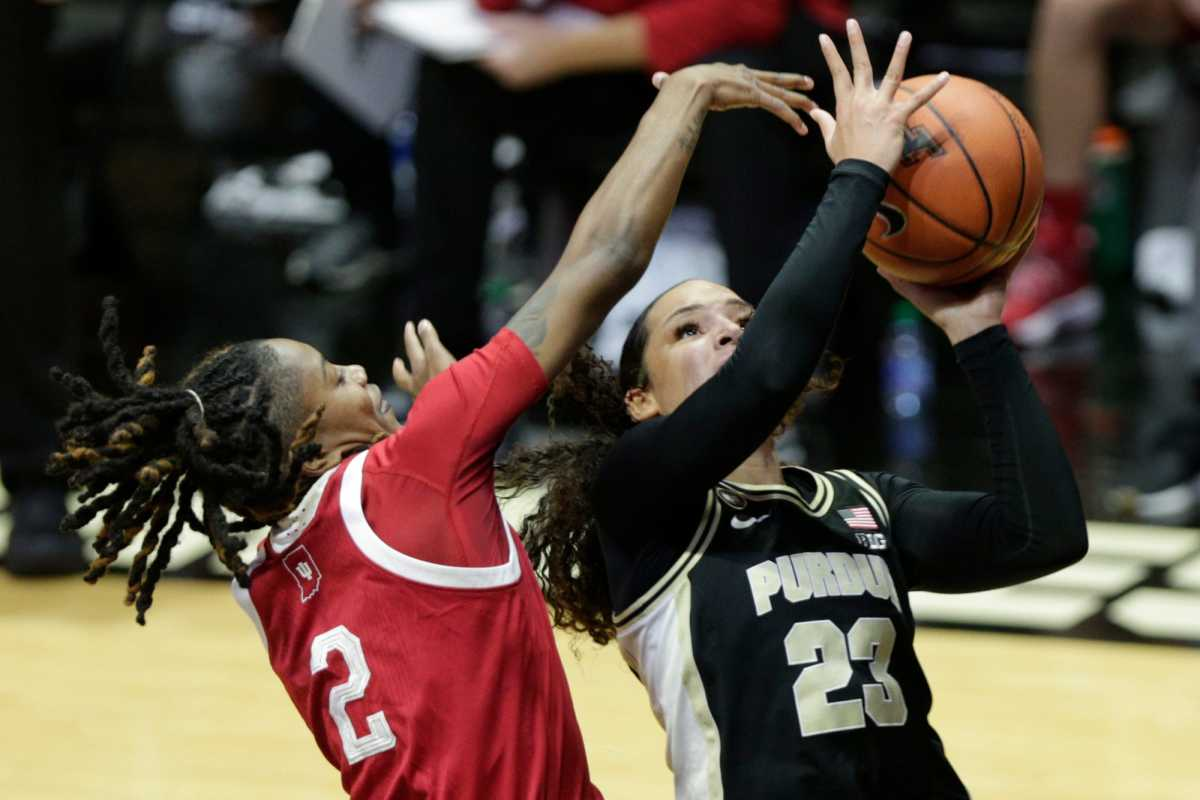 Purdue guard Kayana Traylor (23) goes up for a layup past Indiana guard Keyanna Warthen (2) during the second quarter of an NCAA women's basketball game, Thursday, Jan. 14, 2021 at Mackey Arena.