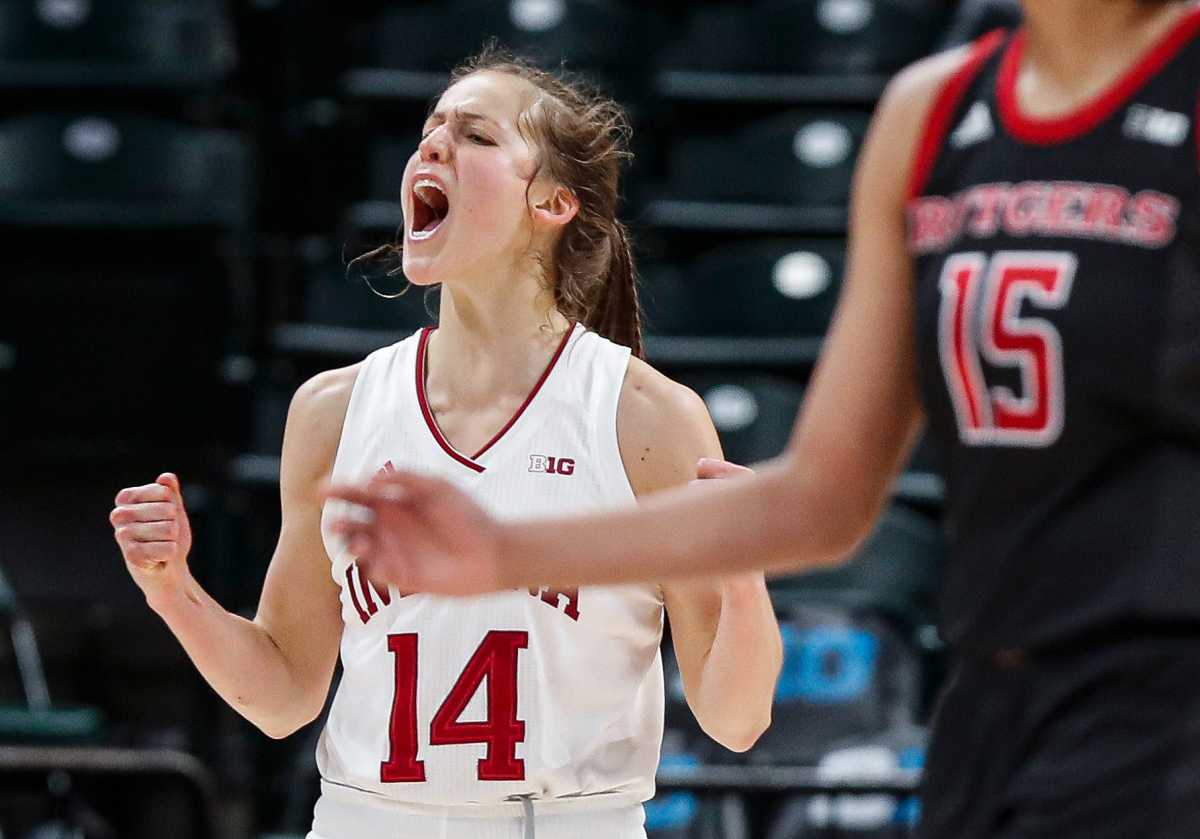 Indiana Hoosiers guard Ali Patberg (14) yells during the Big Ten women's basketball tournament at Bankers Life Fieldhouse, Indianapolis, Friday, March 6, 2020.