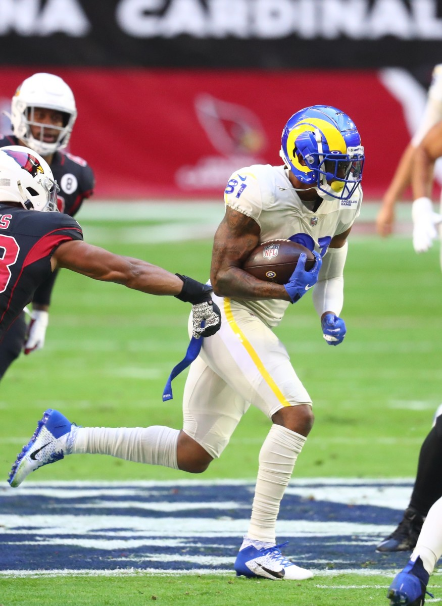 Dec 6, 2020; Glendale, Arizona, USA; Rams tight end Gerald Everett (81) against the Cardinals at State Farm Stadium. Mandatory Credit: Mark J. Rebilas-USA TODAY