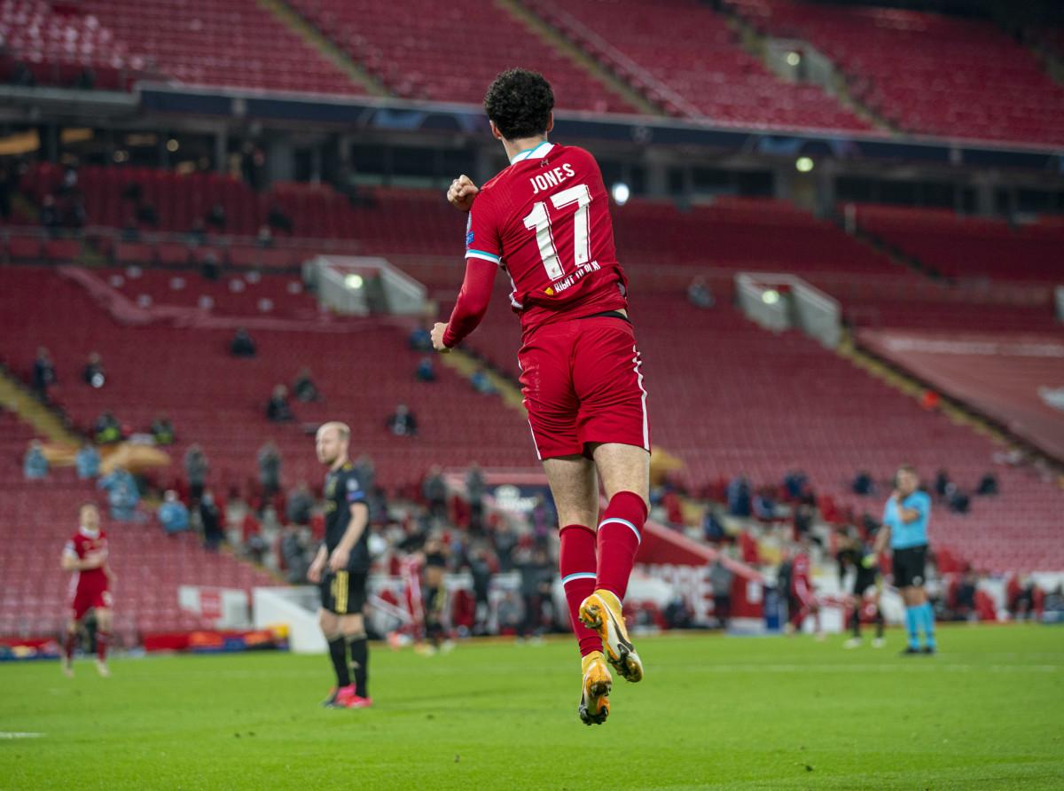 Curtis Jones celebrates against Ajax