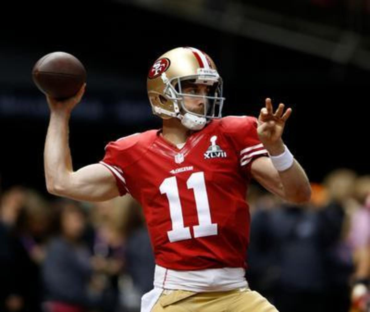 San Francisco 49ers quarterback Alex Smith (11) warms up before the start of Super Bowl XLVII, Sunday, Feb. 3, 2013, at the Superdome in New Orleans.
