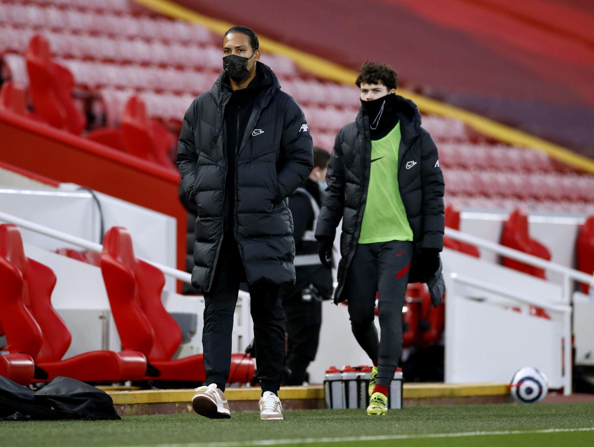 Liverpool defenders Virgil van Dijk and Neco Williams