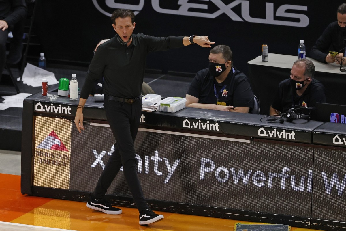 Head Coach Quin Snyder with the call from the sidelines