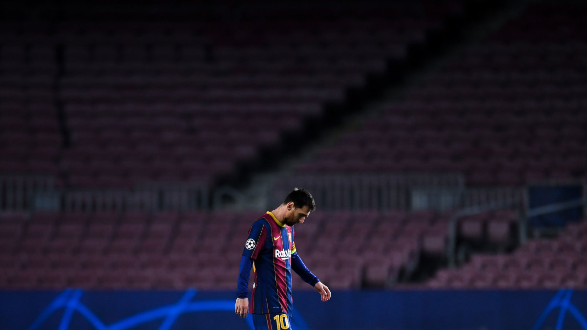 Lionel Messi and Barcelona face a Champions League exit