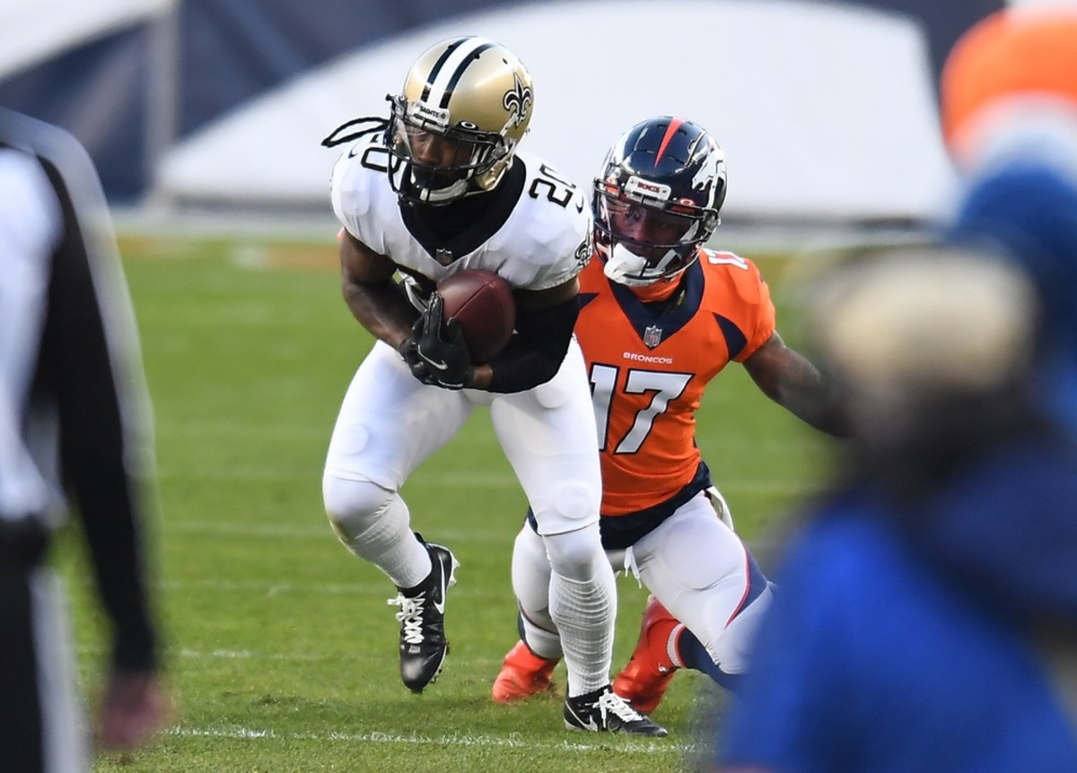 Nov 29, 2020; Denver, Colorado, USA; Saints cornerback Janoris Jenkins (20) intercepts a pass intended for Broncos wide receiver DaeSean Hamilton (17). Mandatory Credit: Ron Chenoy-USA TODAY