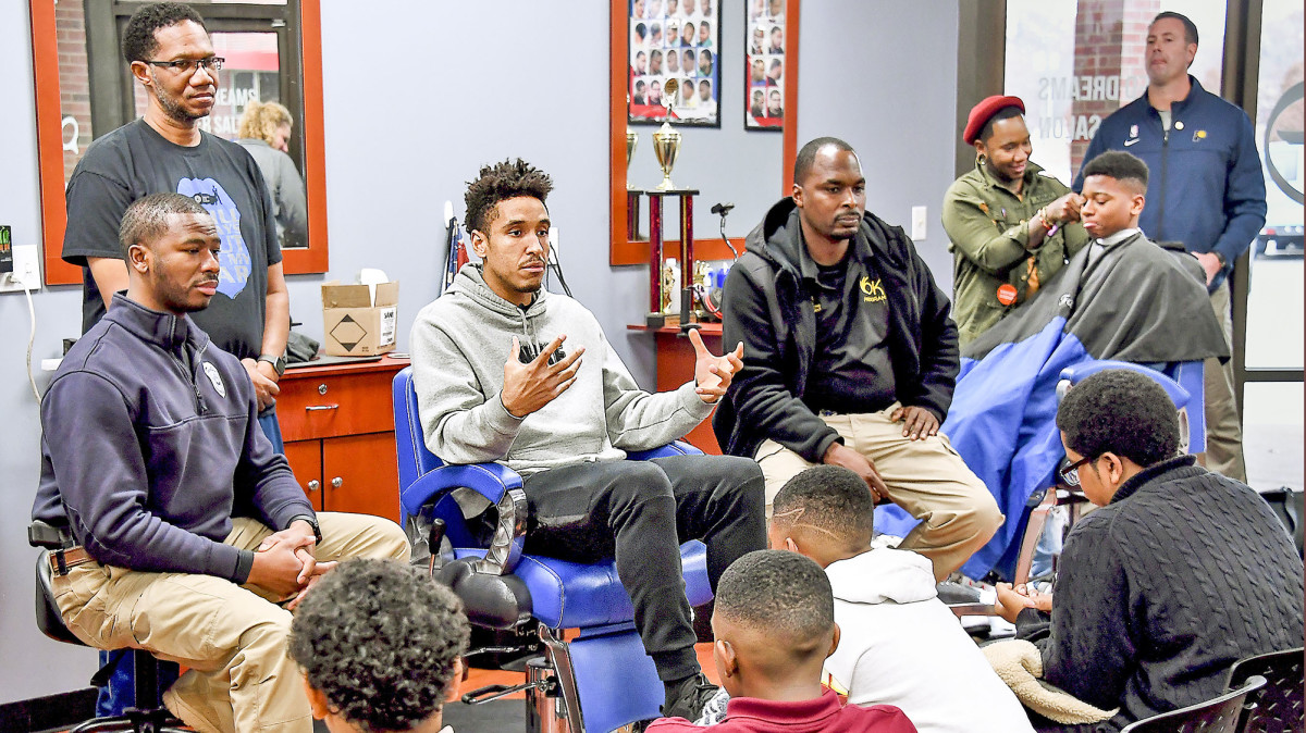 Brogdon began a Tuesday Talks With Malcolm series, meeting with and mentoring at-risk kids in a local barbershop.