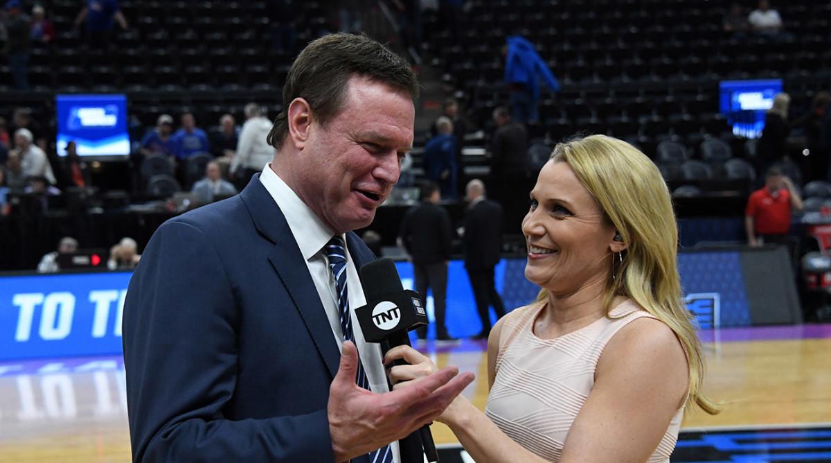 Lisa Byington talks to coach Bill Self