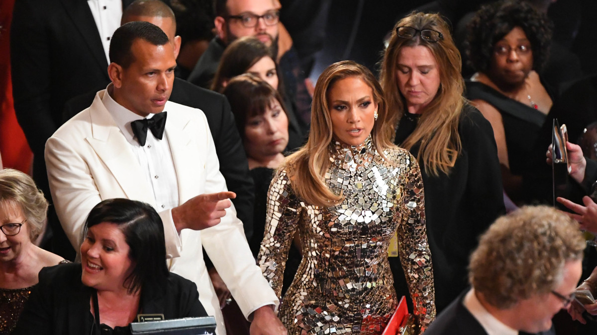 Alex Rodriguez and Jennifer Lopez enter the 91st Academy Awards at the Dolby Theatre.