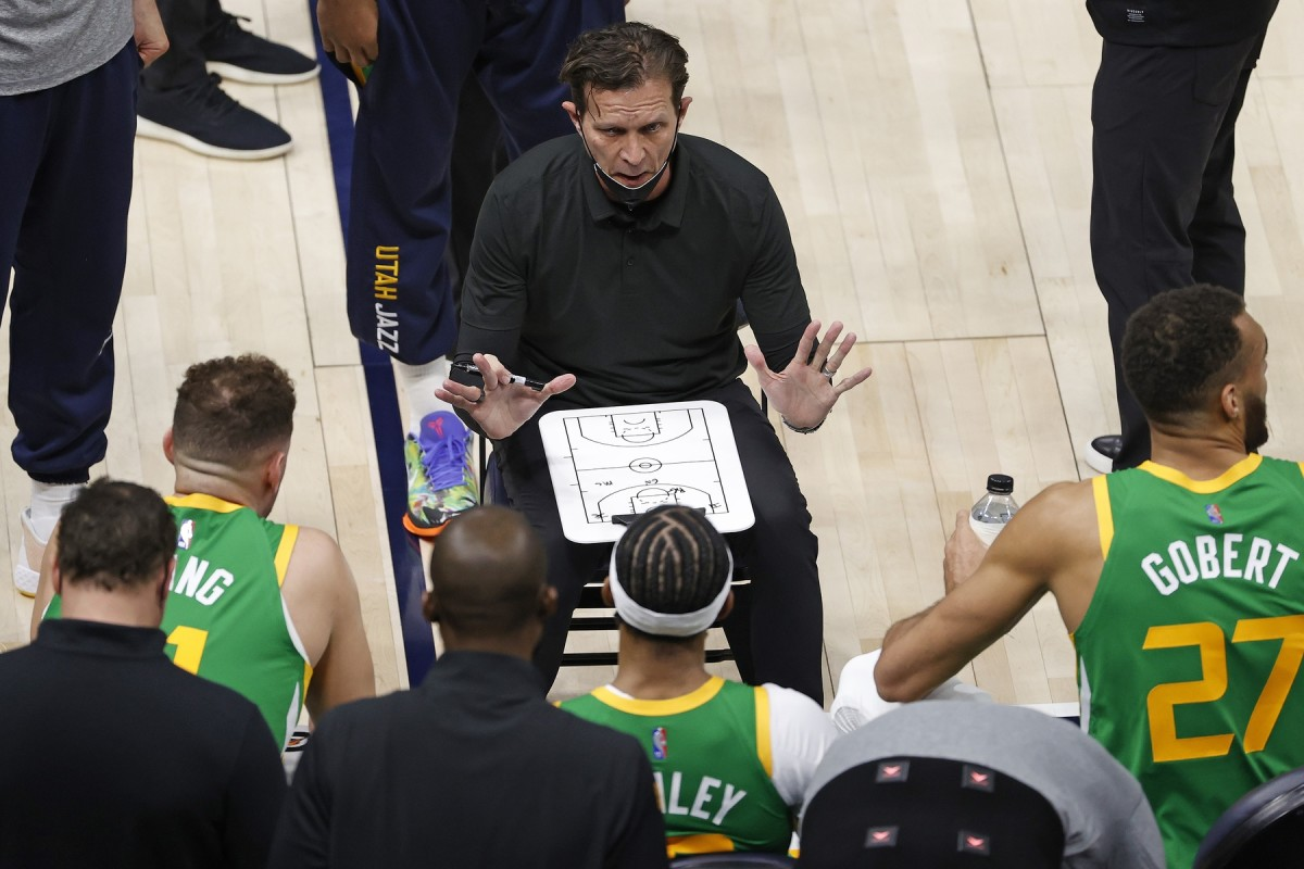 Quin Snyder coaches the Utah Jazz during a timeout earlier this season