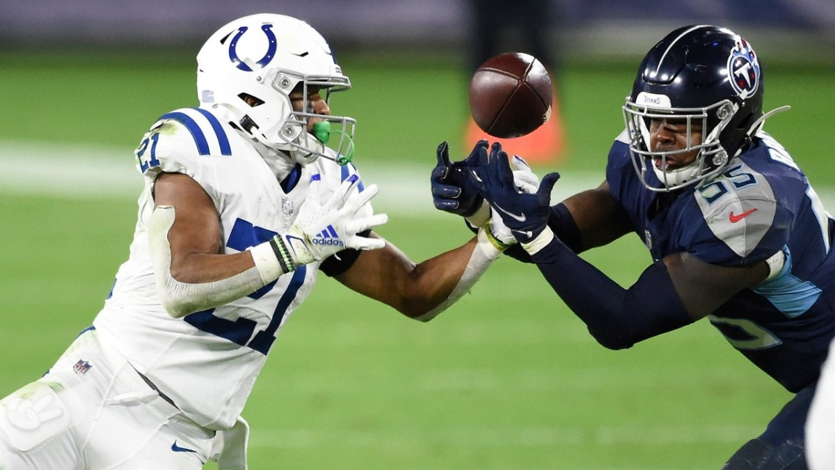 Brown breaks up a pass intended for Indianapolis Colts running back Nyheim Hines.