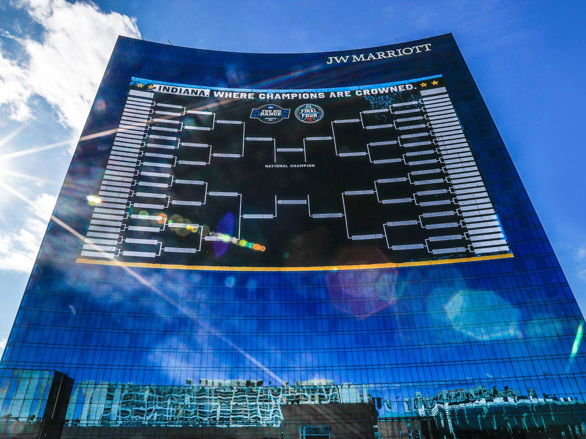 The men's NCAA tournament bracket is seen on a Marriott hotel in Indianapolis