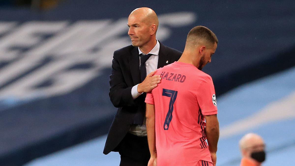 Real Madrid's Zinedine Zidane and Eden Hazard
