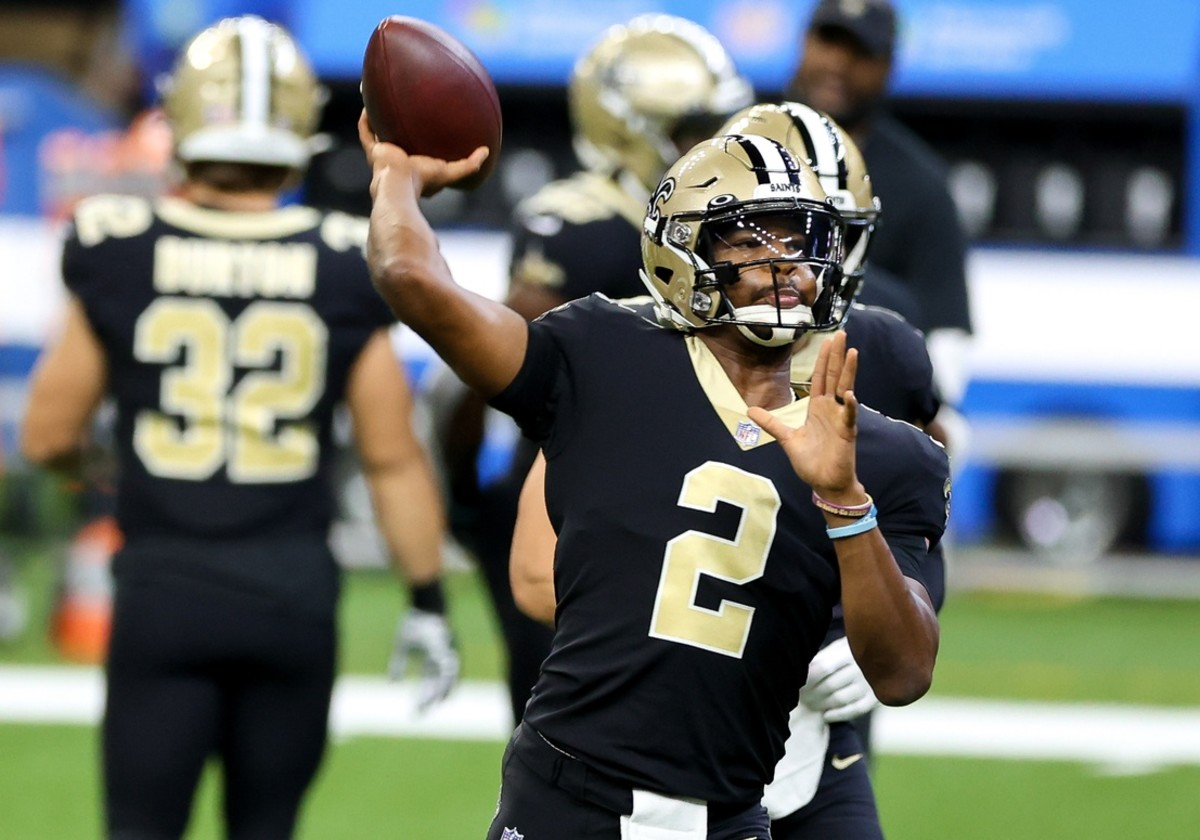 Sep 13, 2020; New Orleans, Louisiana, USA; Saints quarterback Jameis Winston (2) warms up against Tampa Bay. Mandatory Credit: Derick E. Hingle-USA TODAY