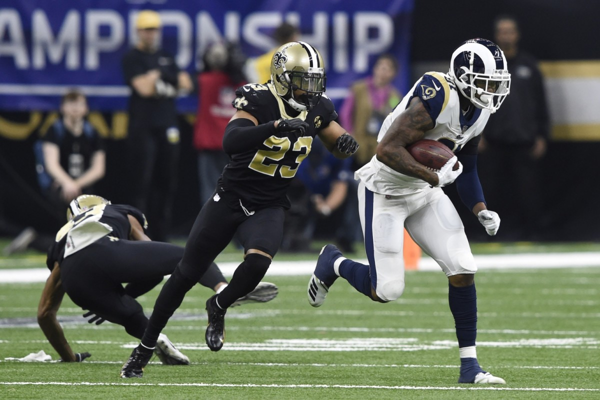 Jan 20, 2019; New Orleans, LA, USA; Rams tight end Gerald Everett (81) is chased by Saints cornerback Marshon Lattimore (23). Mandatory Credit: John David Mercer-USA TODAY
