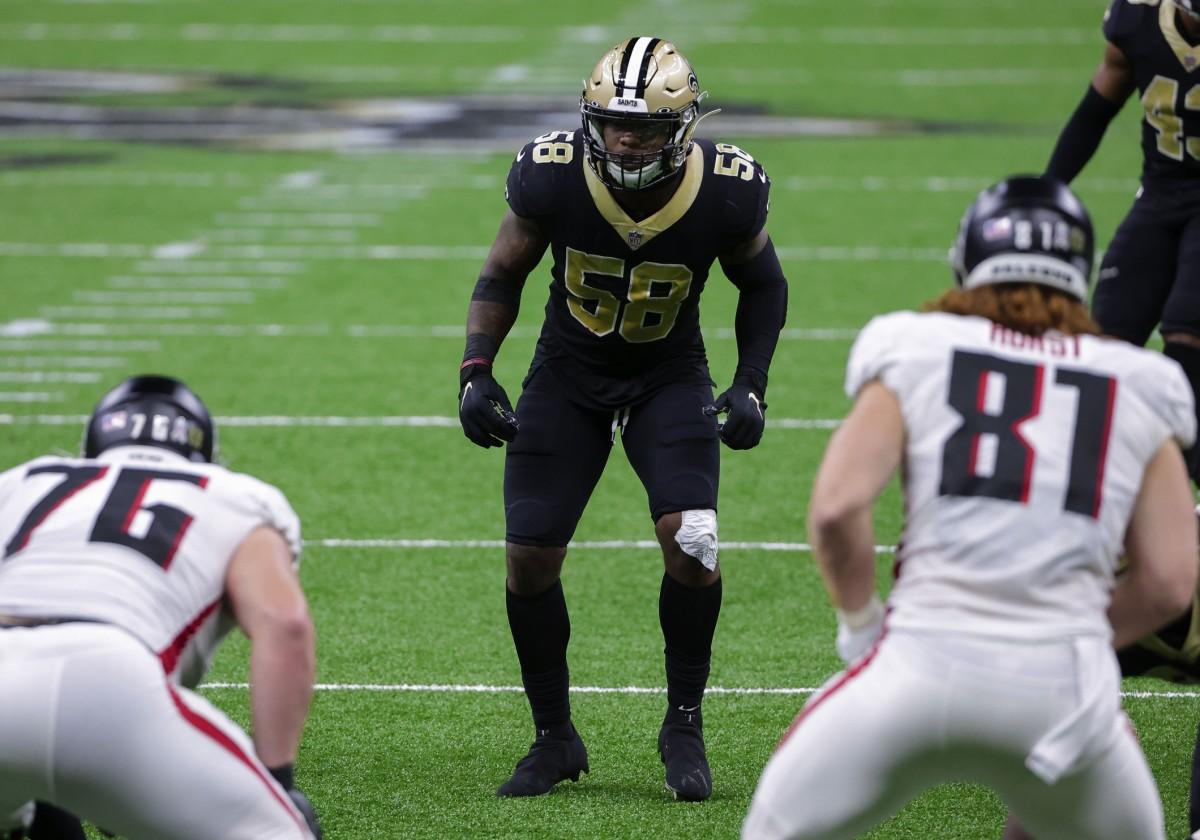 Nov 22, 2020; New Orleans, Louisiana, USA; Saints linebacker Kwon Alexander (58) waits for the snap against Atlanta. Mandatory Credit: Derick E. Hingle-USA TODAY