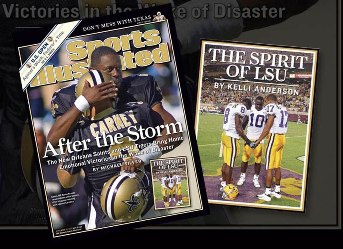 The New Orleans Saints and LSU Tigers Football Team grace the cover of Sports Illustrated in the months that followed Hurricane Katrina.