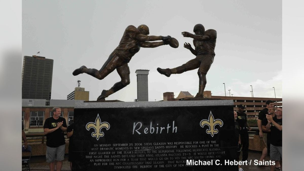Rebirth Statue of Steve Gleason's Iconic Moment