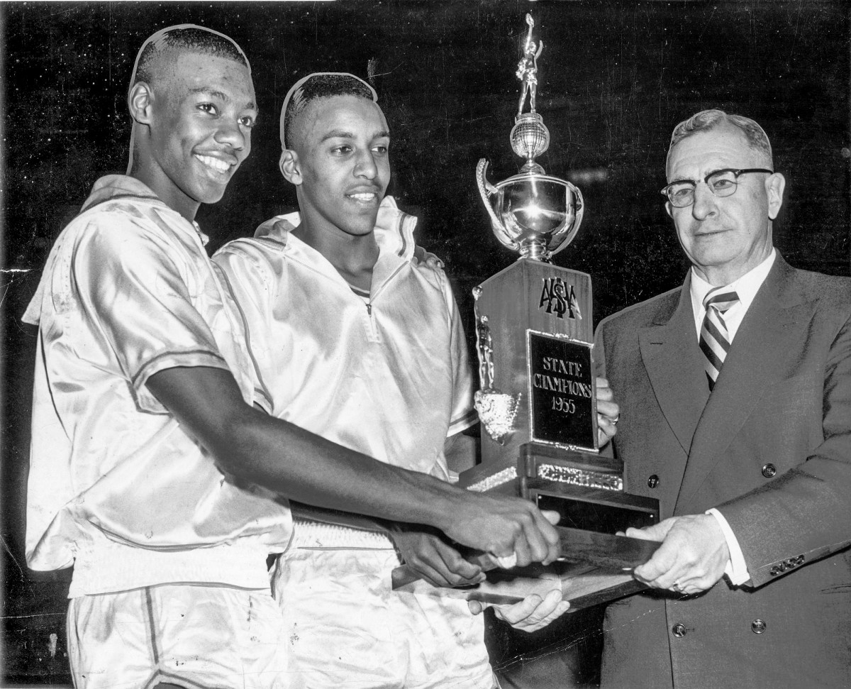 Oscar Robertson (left) helped lead Crispus Attucks to the 1955 state championship.