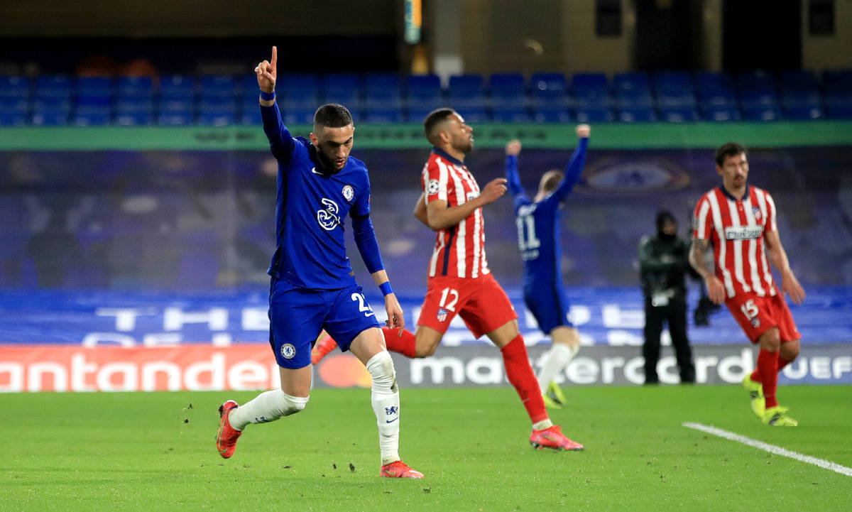Hakim Ziyech scored the first goal in Chelsea's 2-0 win over Atletico Madrid.
