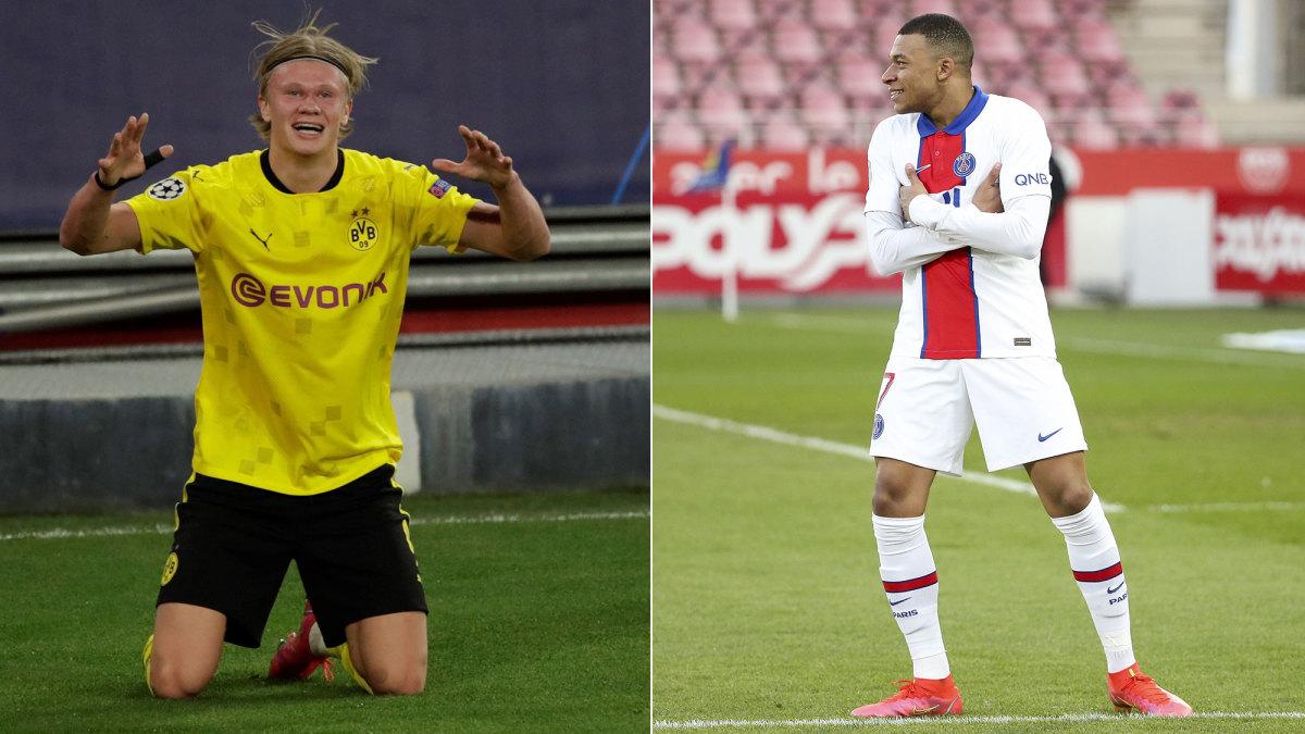 Dortmund's Erling Haaland and PSG's Kylian Mbappe