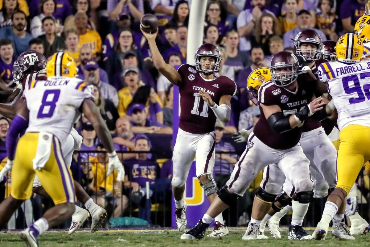 Nov 30, 2019; Baton Rouge, LA, USA; Texas A&M quarterback Kellen Mond (11) throws against the LSU Tigers. Mandatory Credit: Stephen Lew-USA TODAY Sports