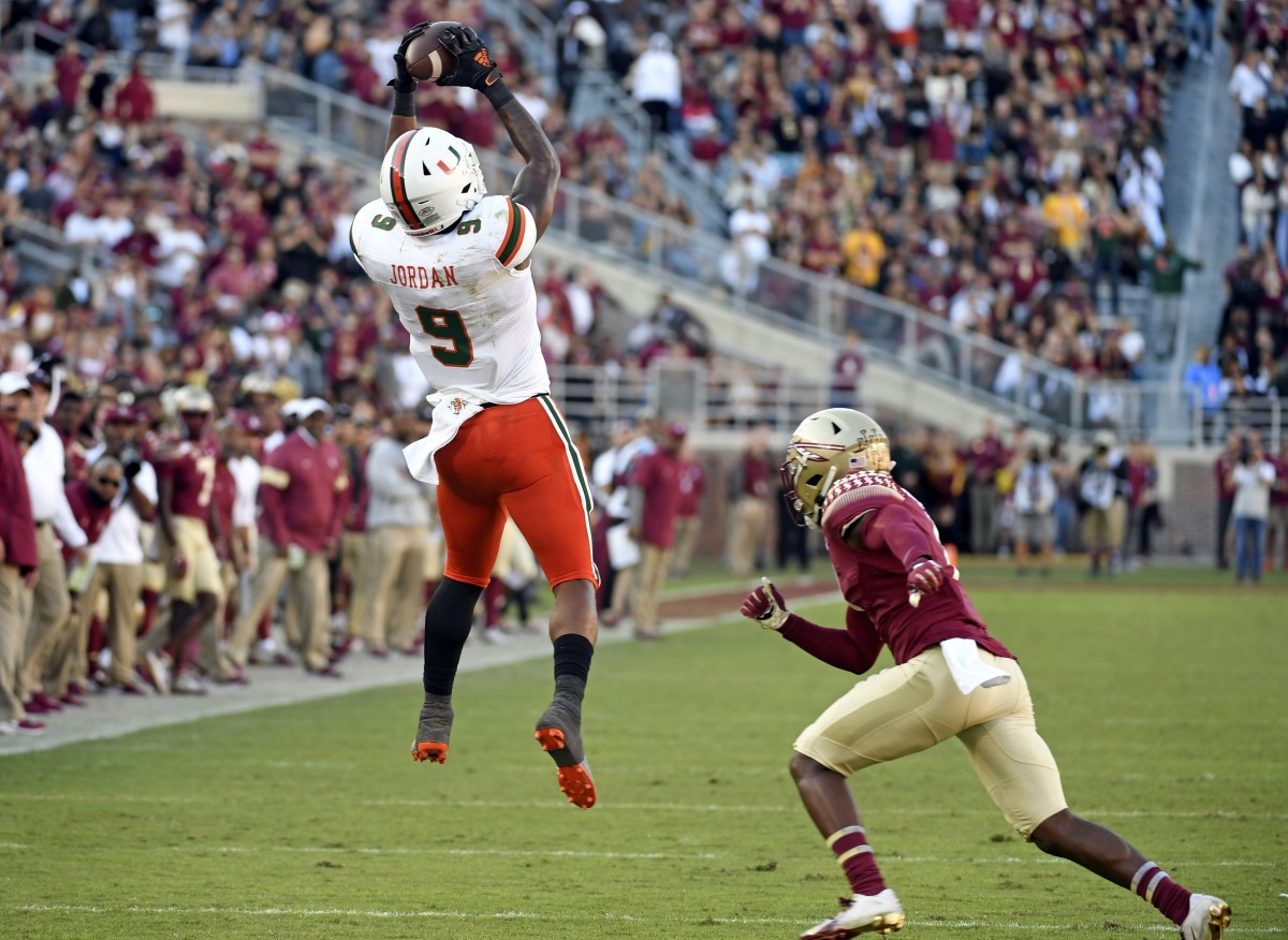 Nov 2, 2019; Tallahassee, FL, USA; Miami Hurricanes tight end Brevin Jordan (9) catches a pass against Florida State. Mandatory Credit: Melina Myers-USA TODAY