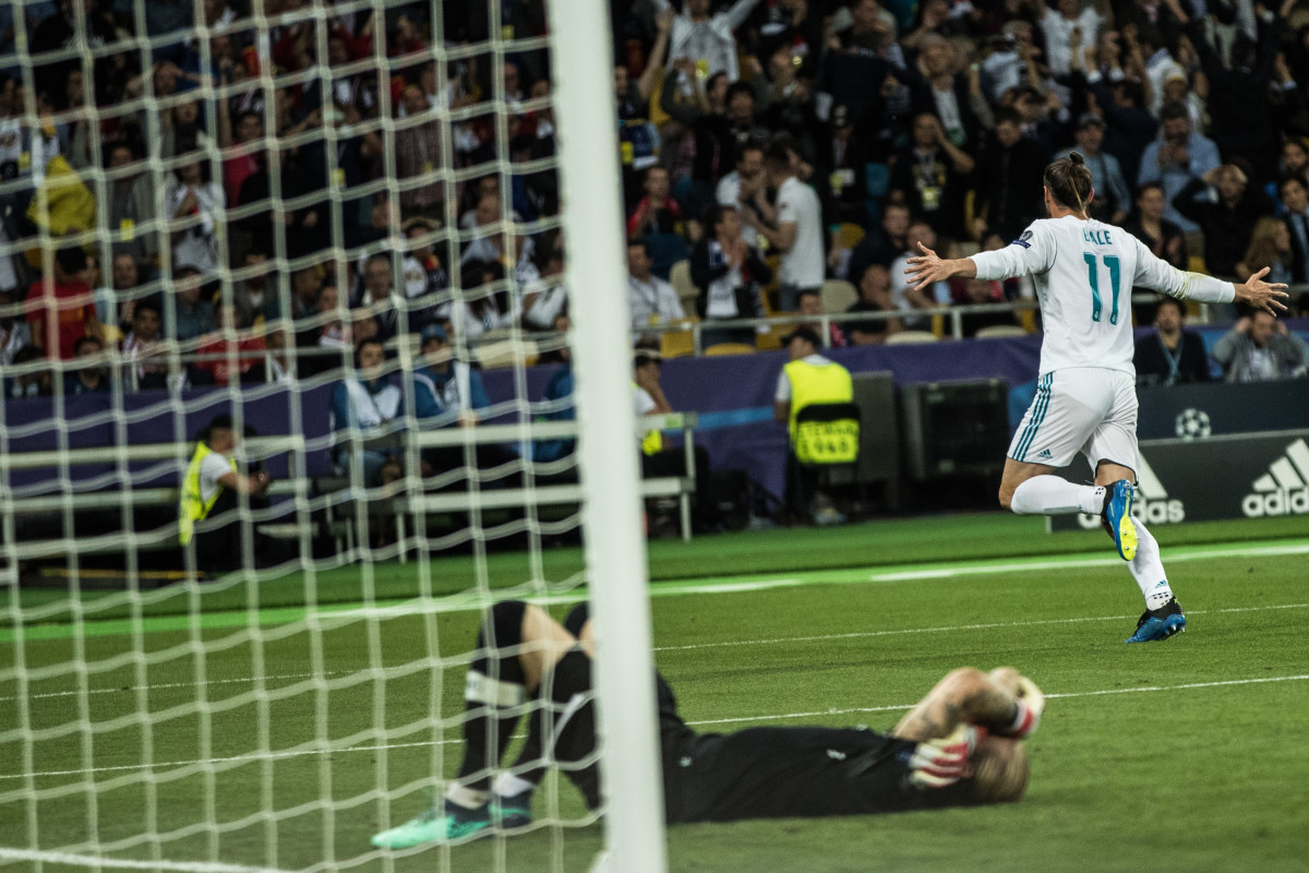Real Madrid's Gareth Bale wheels off in celebration in the Champions League win over Liverpool