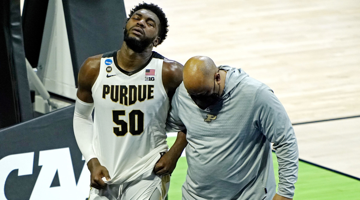 Purdue forward Trevion Williams reacts after losing to North Texas in the first round of the 2021 NCAA tournament.