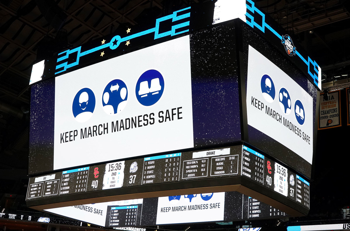 """A sign urges fans to """"Keep March Madness Safe"""""""