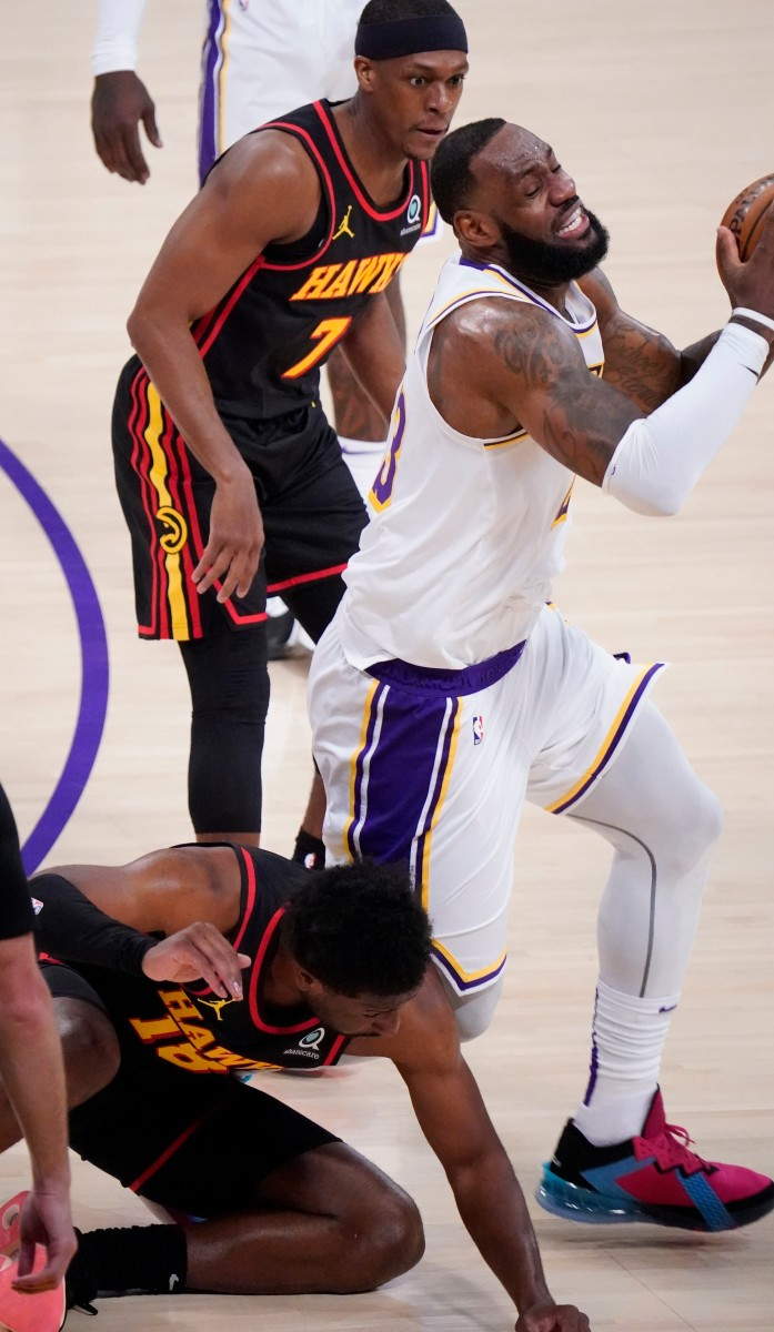 LeBron James gets his ankle rolled into by Solomon Hill/USA Today Sports