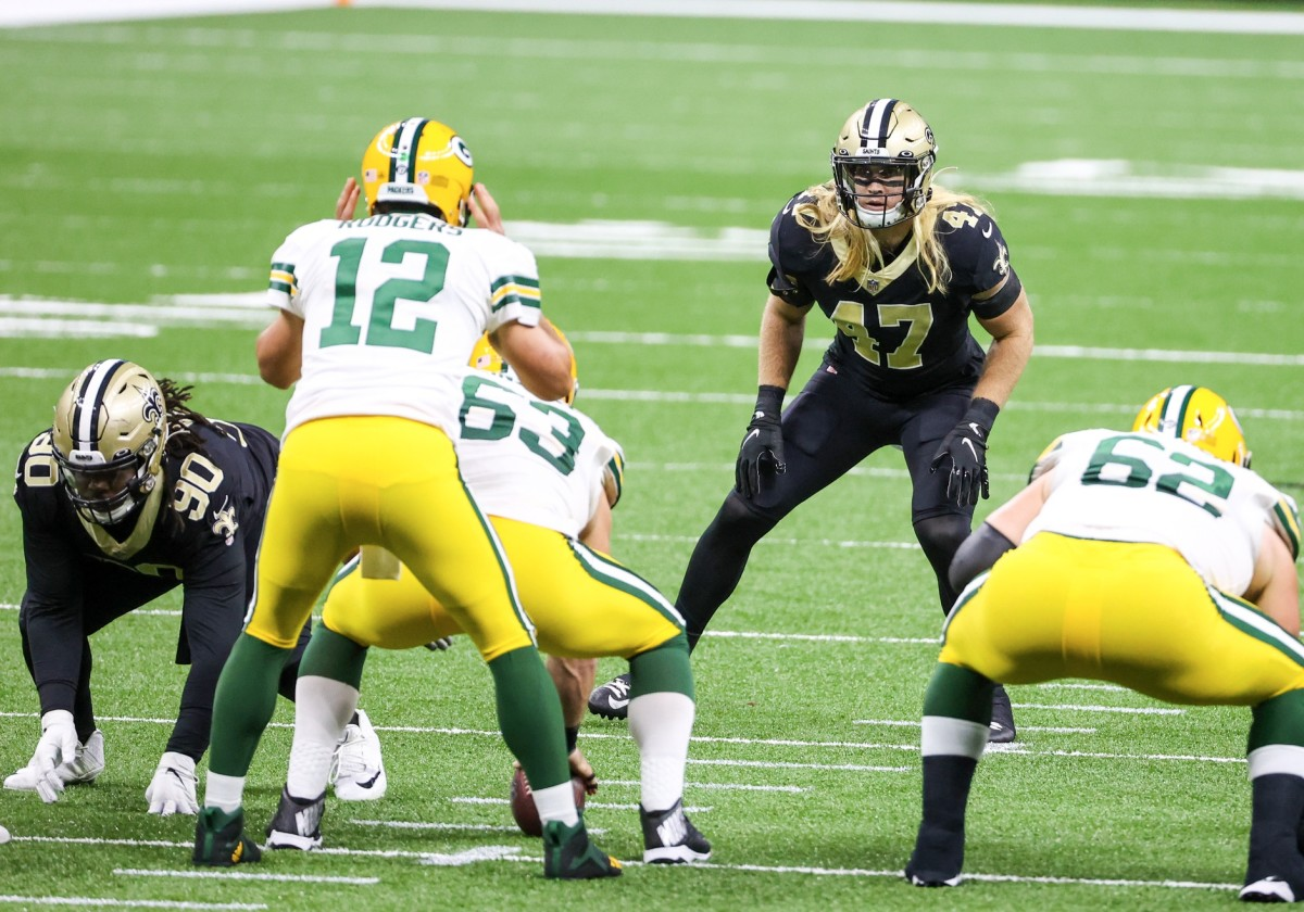 Sep 27, 2020; New Orleans, Louisiana, USA; Saints linebacker Alex Anzalone (47) lines up against the Packers. Mandatory Credit: Derick E. Hingle-USA TODAY