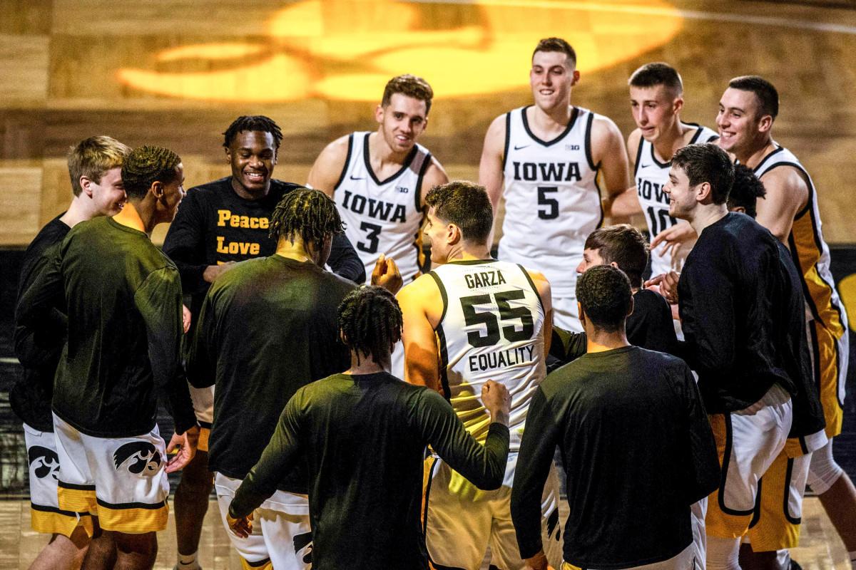 Luka Garza inside the Iowa huddle