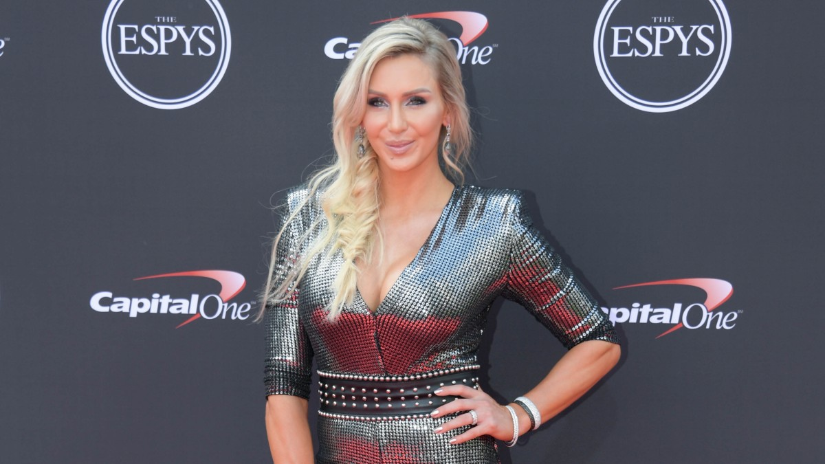WWE star Charlotte Flair poses on the red carpet ahead of The ESPYS